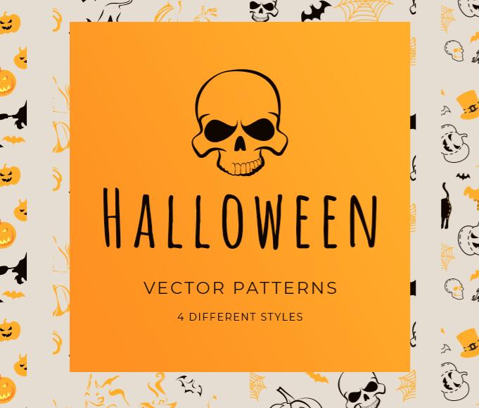 4 Vector Halloween Seamless Patterns