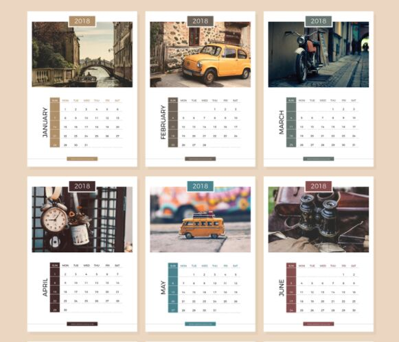 Free 13 Pages Complete 2018 Calendar Design Templates