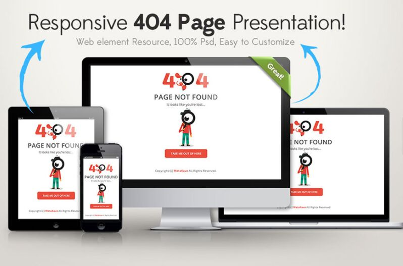 Responsive 404 Error Page Free PSD