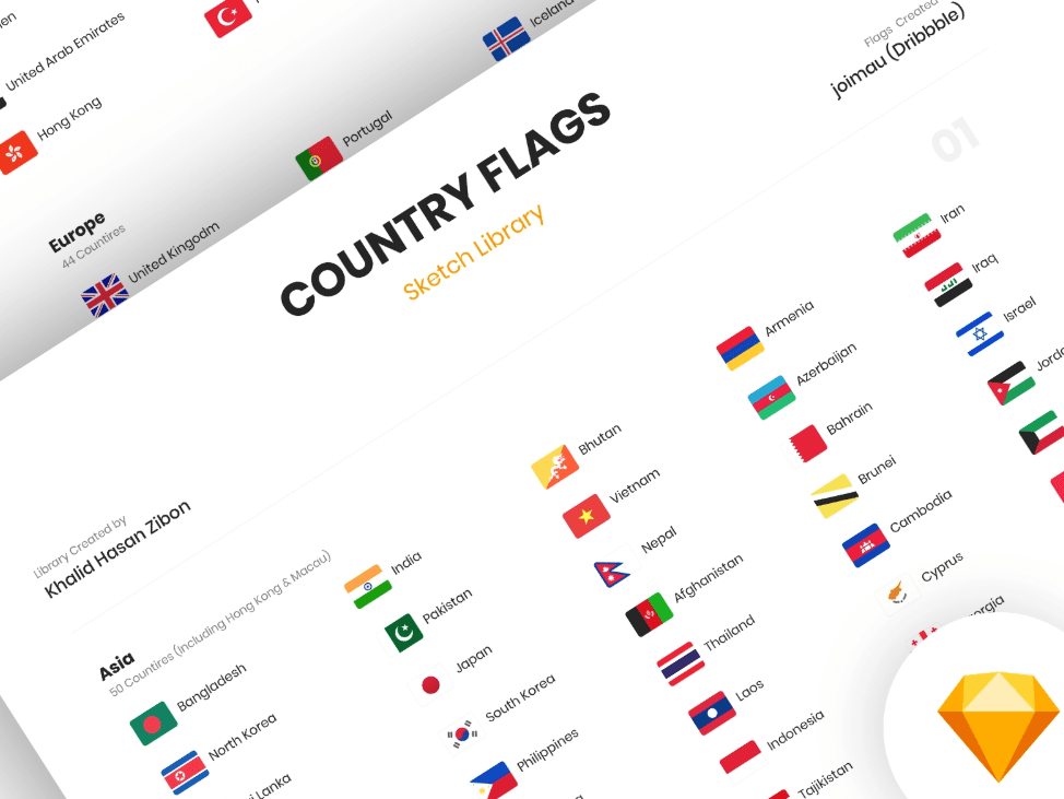 Country Flags Sketch Library