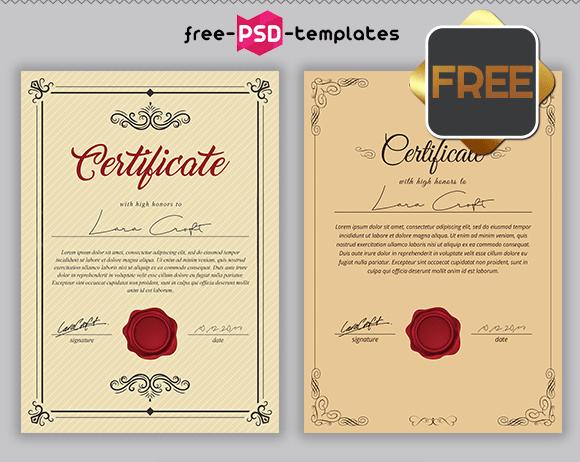 FREE PSD MULTIPURPOSE CERTIFICATES BUNDLE