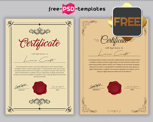 FREE PSD MULTIPURPOSE CERTIFICATES BUNDLE