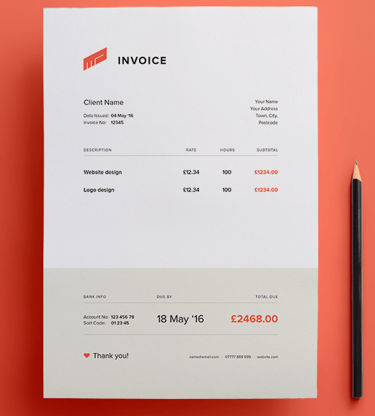 Flat Invoice Vector Template