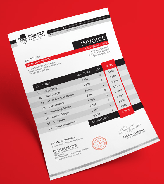 Free Professional Business Invoice Design Template