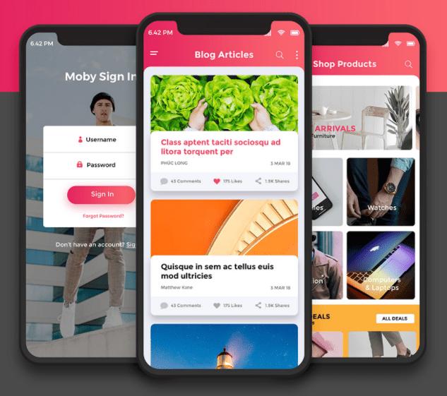 Moby App UI Kit PSD