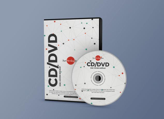 Free Modern CD DVD Disc Cover Mockup PSD-min