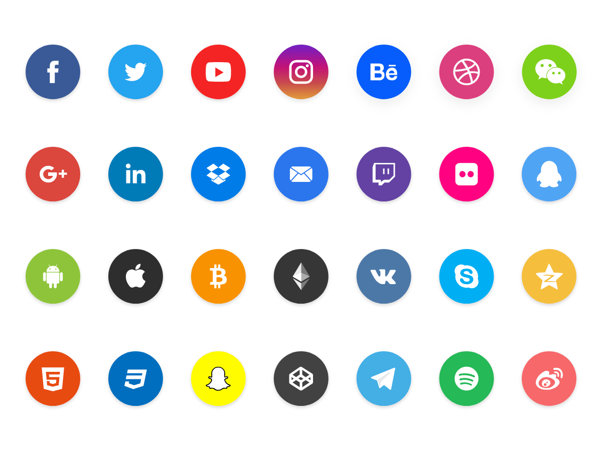15 Best Flat Circular Social Icon Sets For Free Download 365 Web Resources