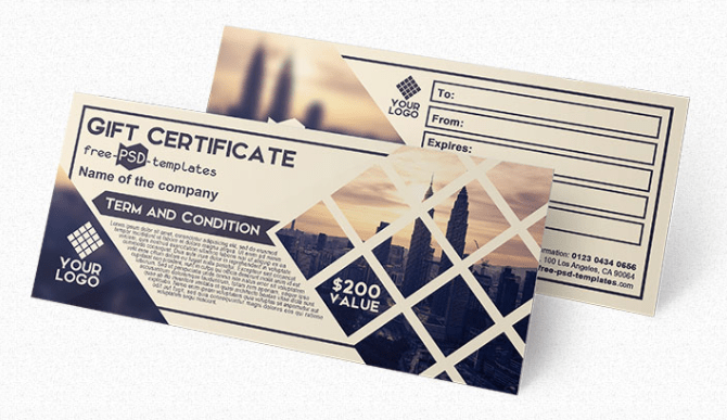 FREE BUSINESS GIFT CERTIFICATE IN PSD