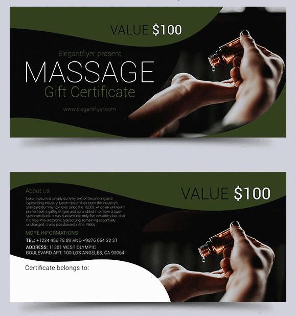 Massage – Free Gift Certificate PSD Template