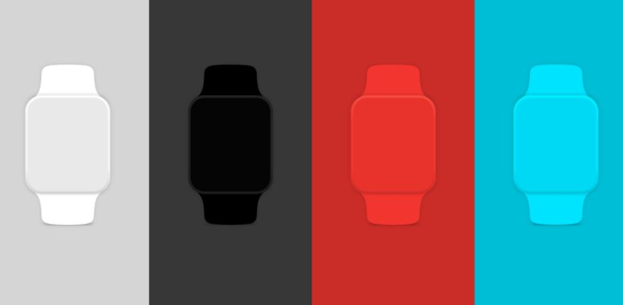 Simple Flat Apple Watch Vector Mockup