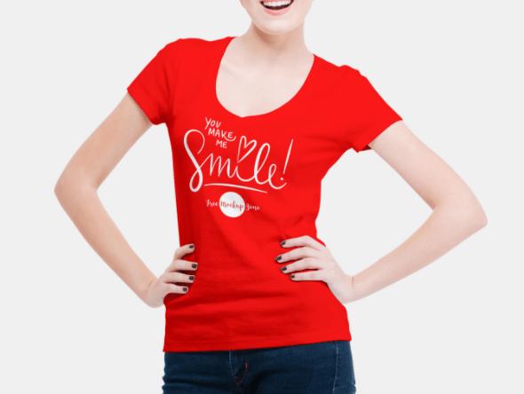 Smiling Woman Wearing V-Shape T-Shirt Mockup