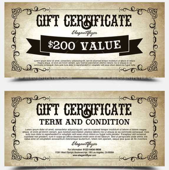 Vintage – FREE Gift Certificate PSD Template