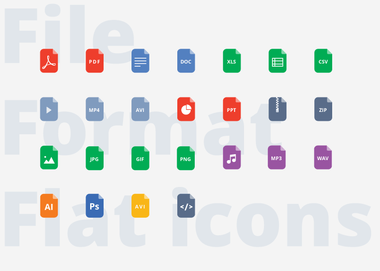 File format Flat icons-min