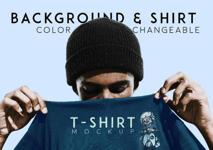 T-Shirt Mockup With Model Free PSD
