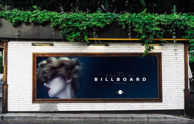Free Roadside Advertisement Billboard Mockup PSD