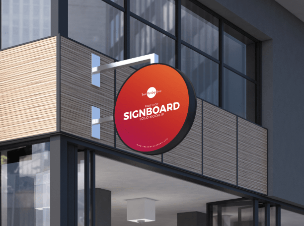 Free Shop Sign Board Logo Mockup PSD-min