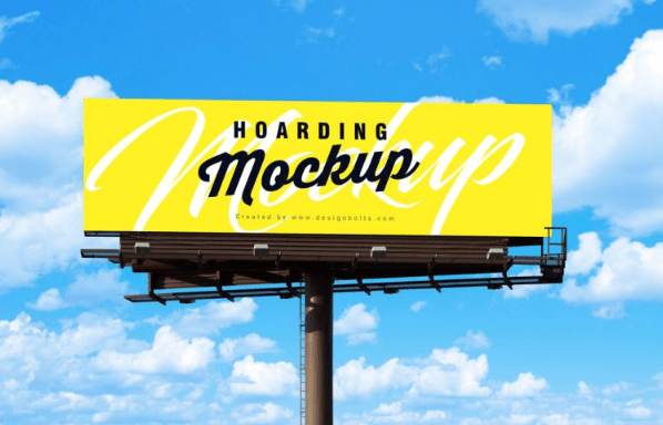 Outdoor Advertisement Blank Hoarding Billboard Mockup PSD