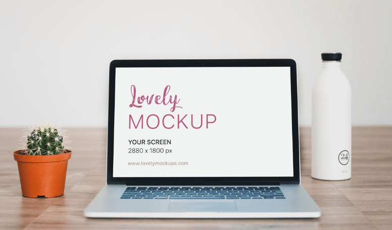 Macbook Mockup With Cactus on Wooden floor-min