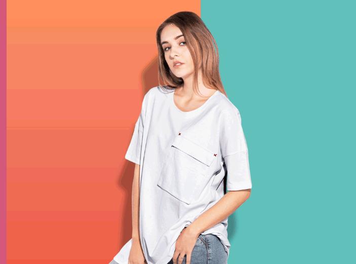 Woman oversize T-shirt mockup with transparent bg-min