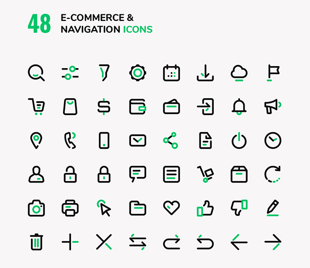 E-commerce & Navigation Vector Icons Set
