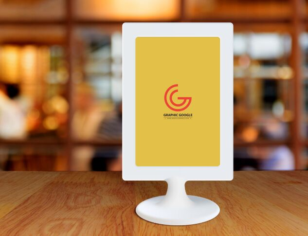 Free Restaurant Menu Frame on Table Mockup
