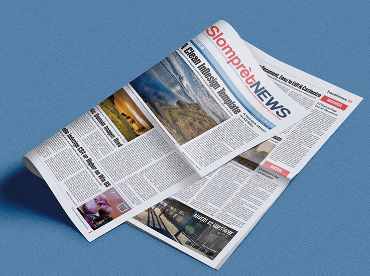 Slompret News InDesign Mockup