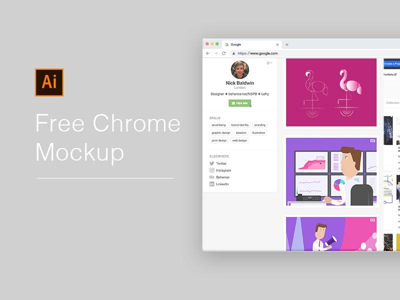 Free Chrome Mockup 2018 For Illustrator