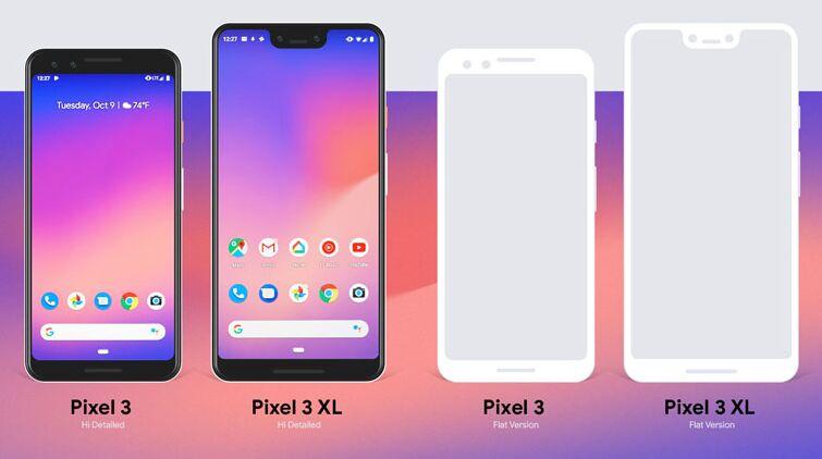 Free Google Pixel 3 & Pixel 3 XL Mockup PSD, Ai & EPS
