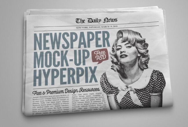 Newspaper Mockup Layered PSD