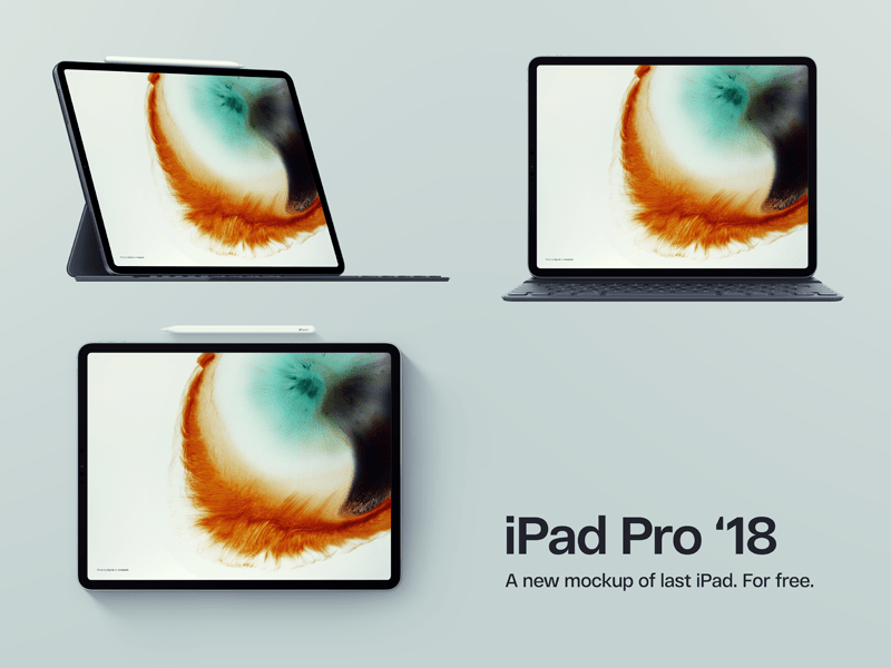 iPad Pro 2018 Mockup Three Views