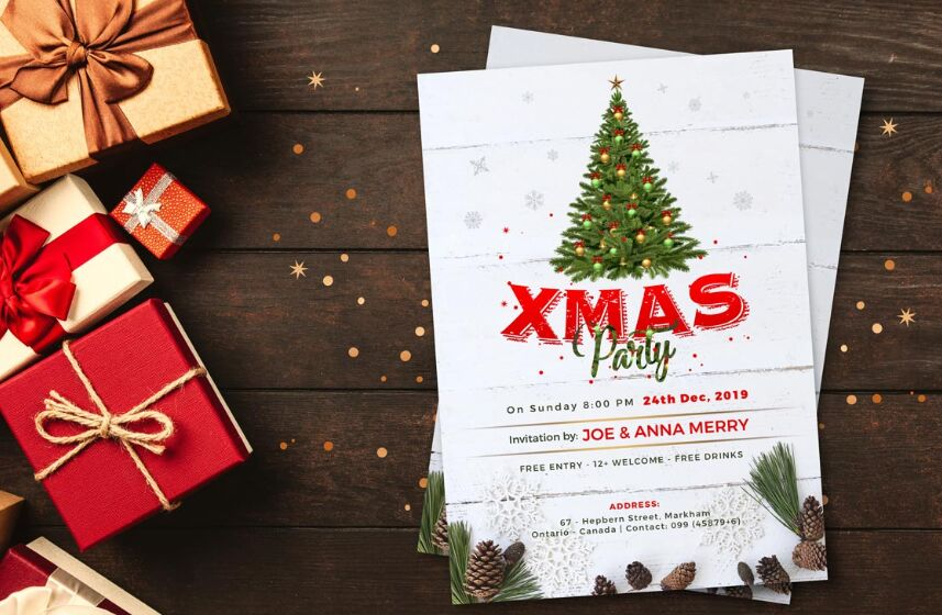 Christmas Party Flyer Design Template 2019 PSD