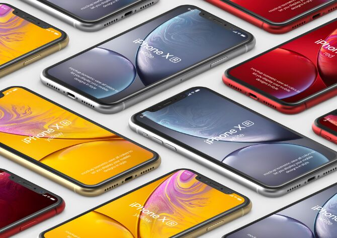 Psd iPhone XR Mockup Isometric Vol2