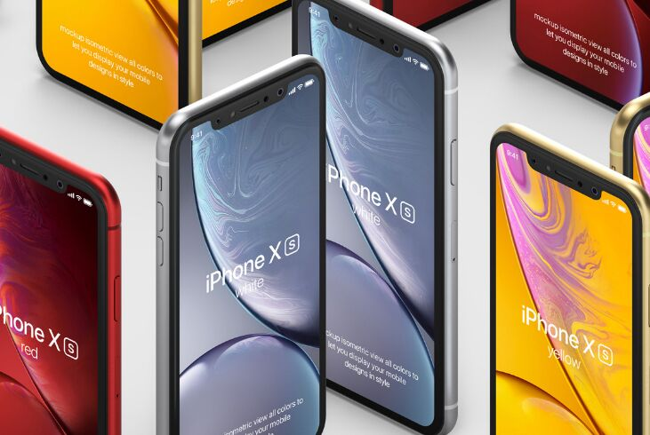 Psd iPhone XR Mockup Isometric Vol4