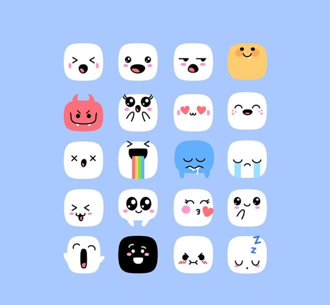 Cute Kawaii Emoji Set