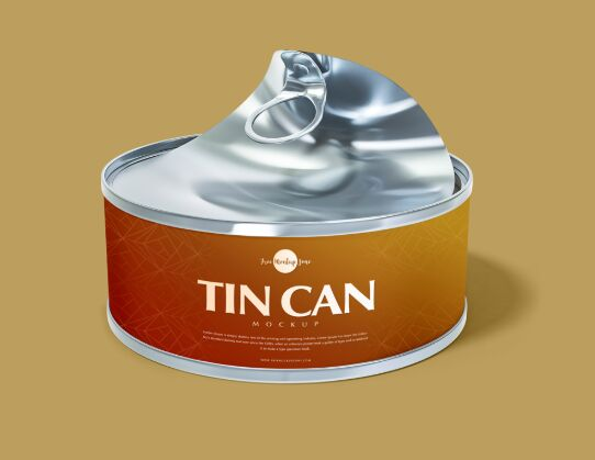 Free Open Tin Can Mockup PSD For Presentation