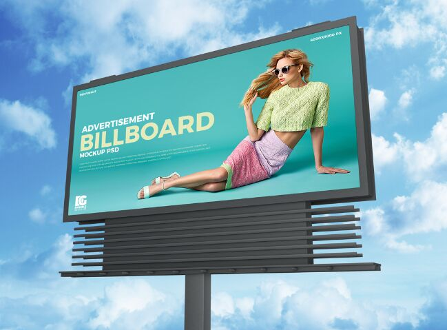 Free Sky Advertisement Billboard Mockup PSD