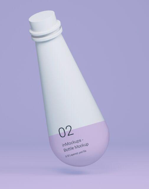 Floating White Bottle Mockup