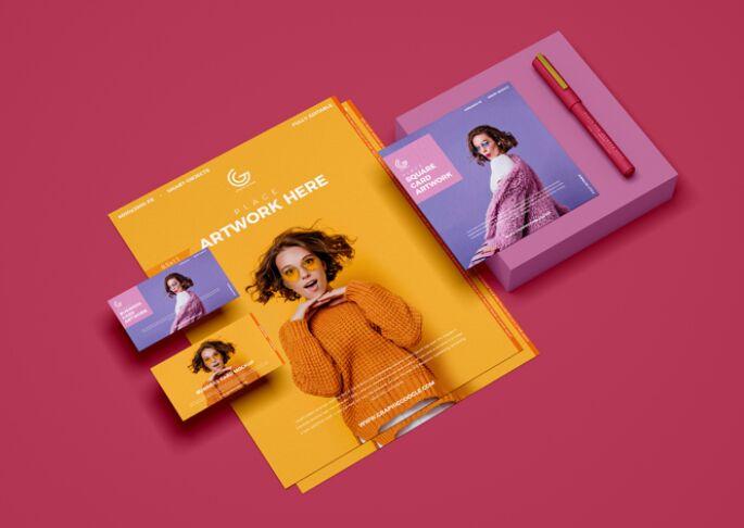 Free Branding PSD Stationery Mockup Design