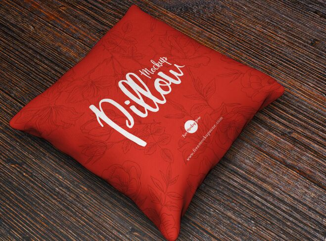 Free Brand Square Pillow Mockup PSD