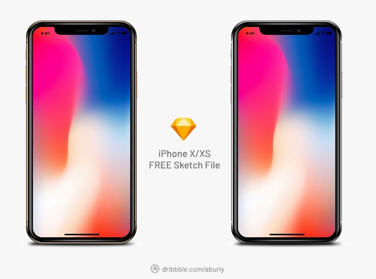 Free iPhone X XS Realistic Mockup Sketch