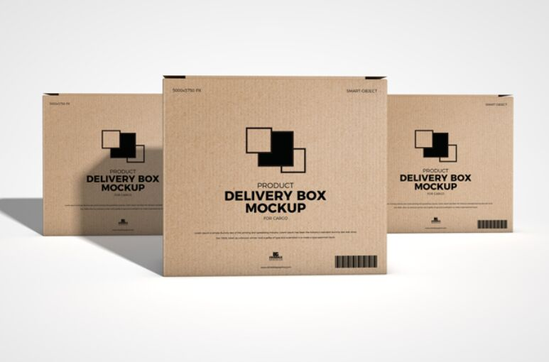 Free Product Delivery Box Mockup