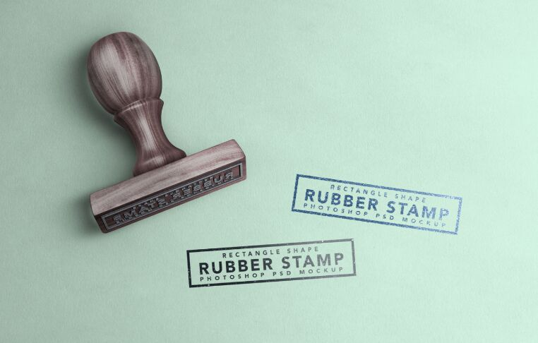 Free Wooden Rectangle Rubber Stamp Mockup PSD