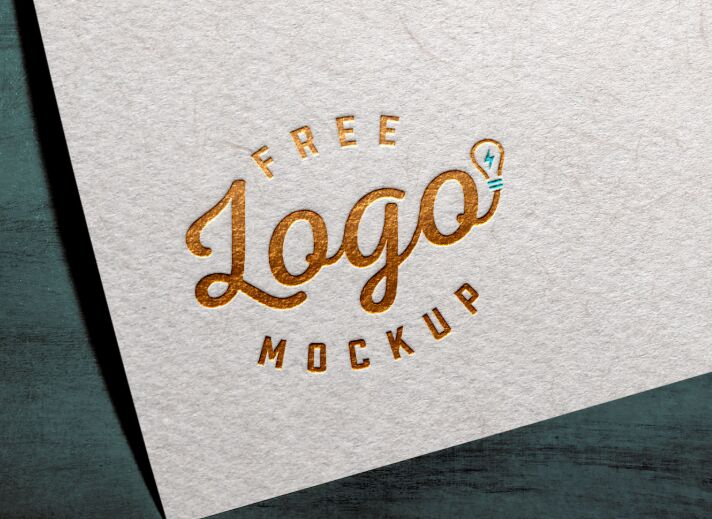 Free Gold Silver Foil Textured Card Logo Mockup PSD