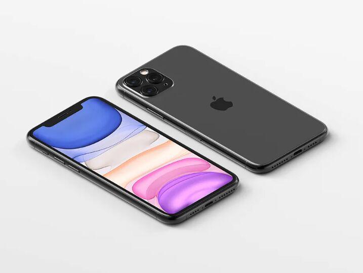 Isometric iPhone 11 Pro Max Mockup