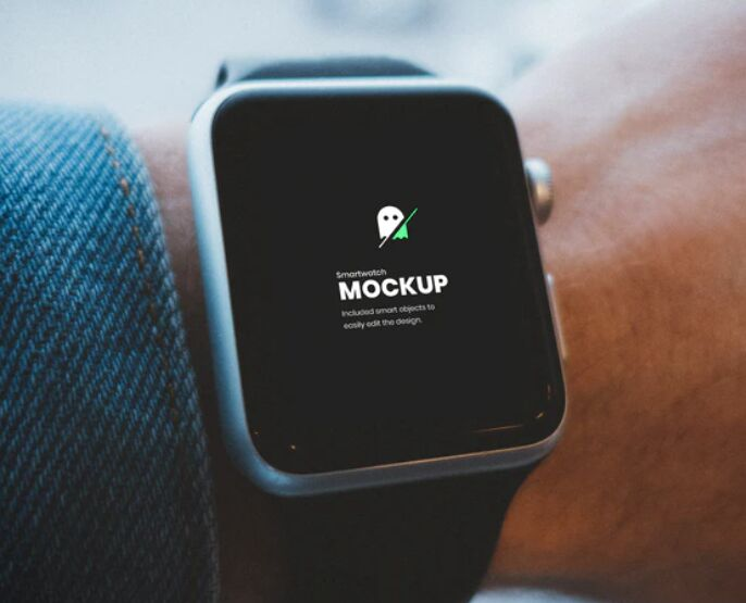 Smartwatch on Hand PSD Mockup
