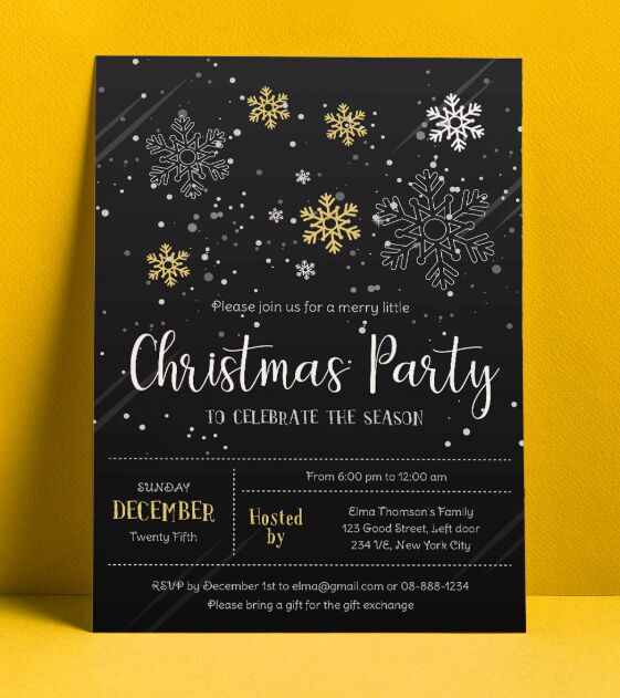 Christmas Party Flyer Design Vector Template Ai