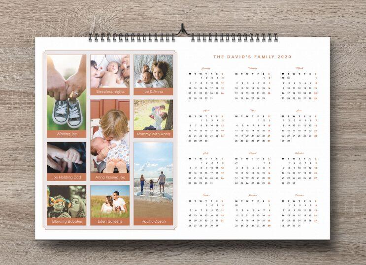 Family Pictures 2020 Calendar Design Template
