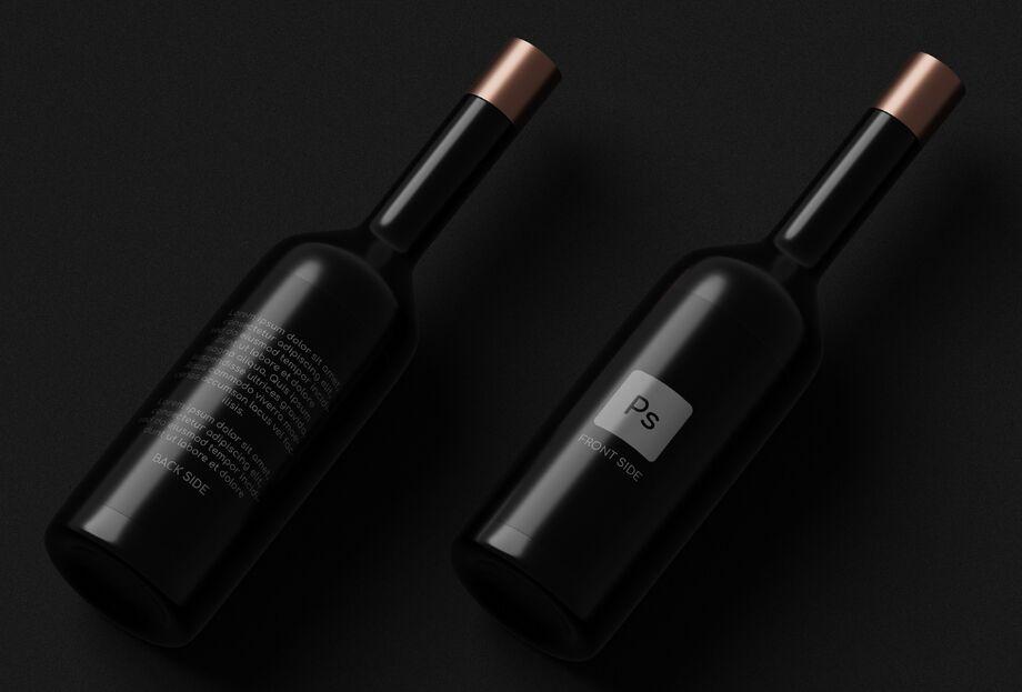 Dark Wine Bottles Mockup