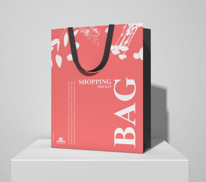 Shopping Bag on White Podium Mockup