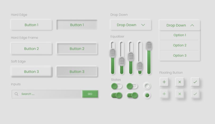 Skeumorphism UI Elements